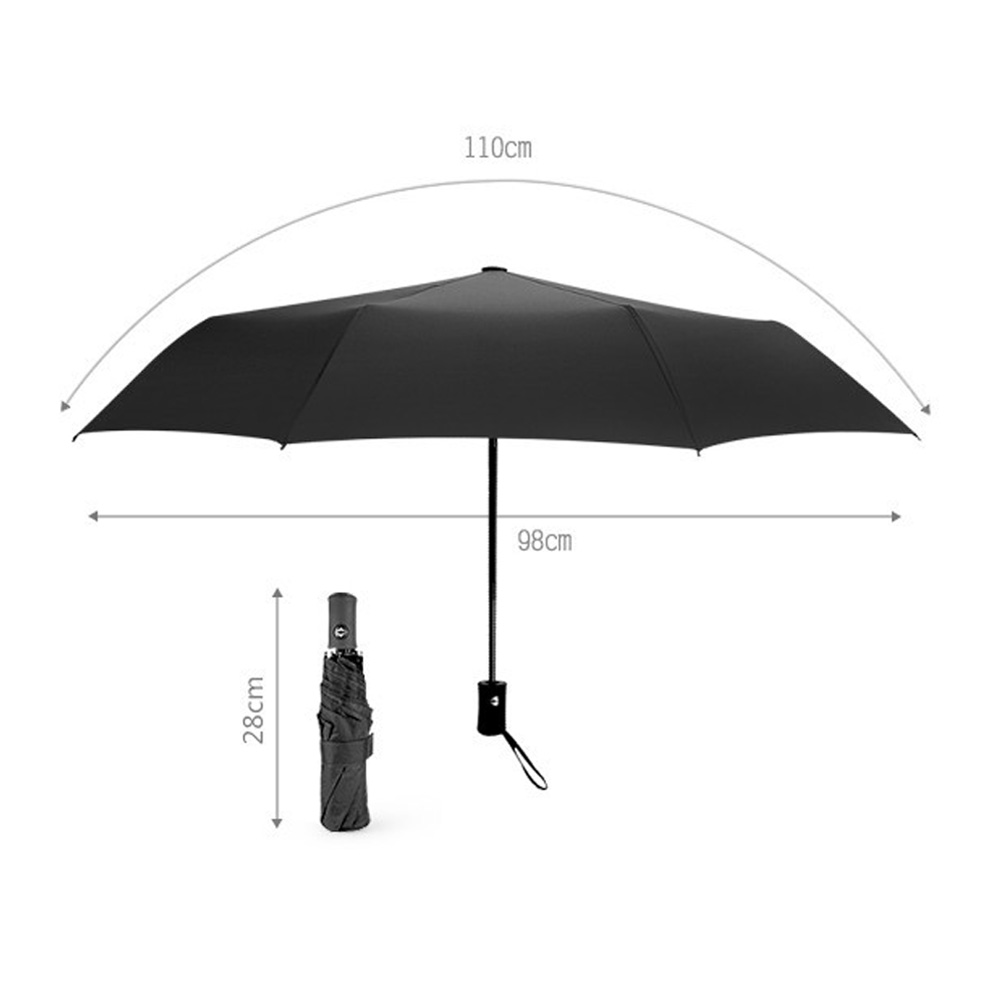 Auto Open/Close Compact Windproof 3Folding Travel Business Umbrella Black
