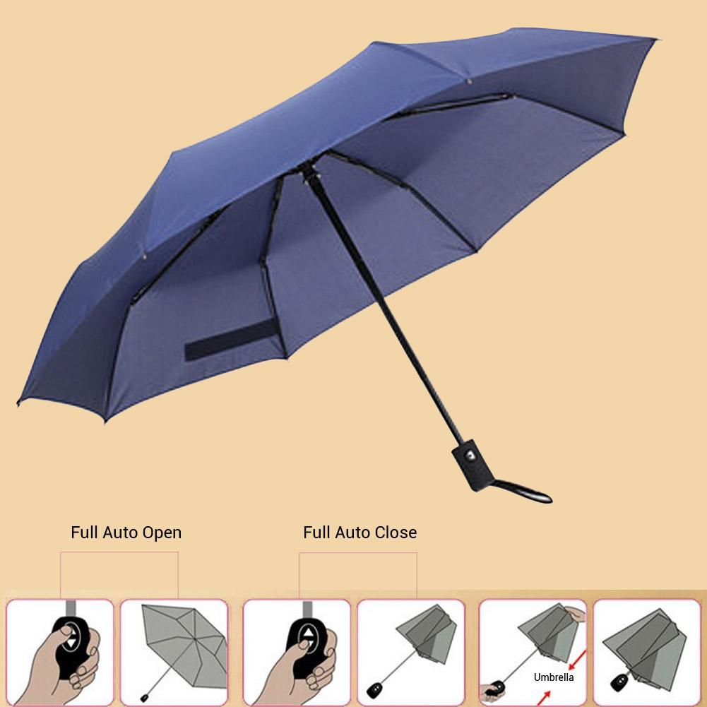 Wholesale Auto Open/Close Compact Windproof 3Folding Travel Business Umbrella Blue