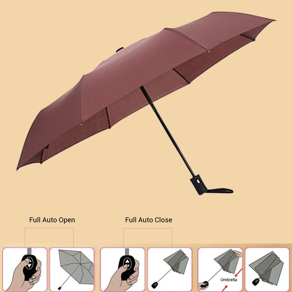 Auto Open/Close Compact Windproof 3Folding Travel Business Umbrella Brown