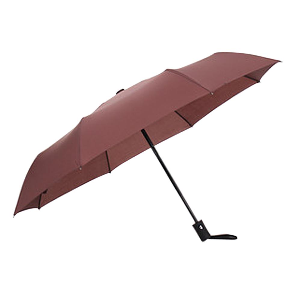 Wholesale Auto Open/Close Compact Windproof 3Folding Travel Business Umbrella Brown