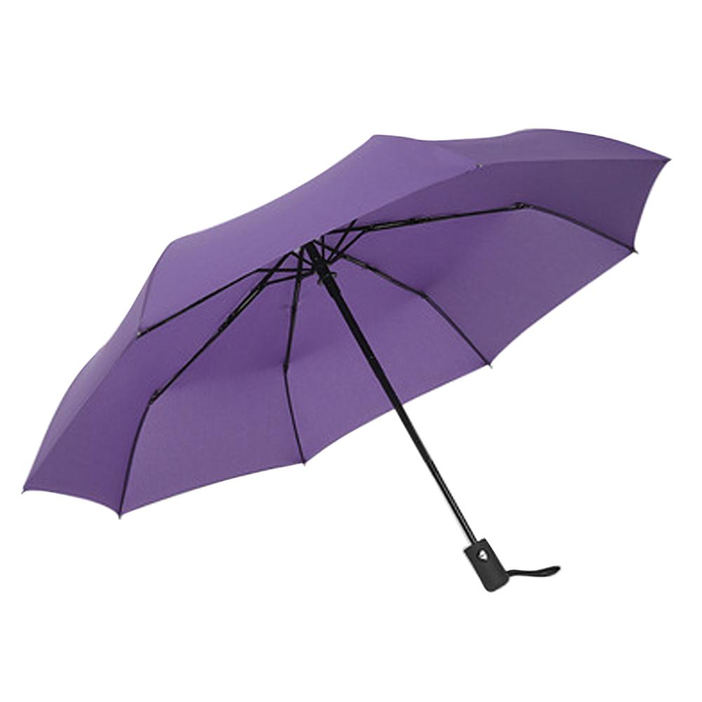 Auto Open/ Close Compact Windproof 3Folding Travel Business Umbrella Purple