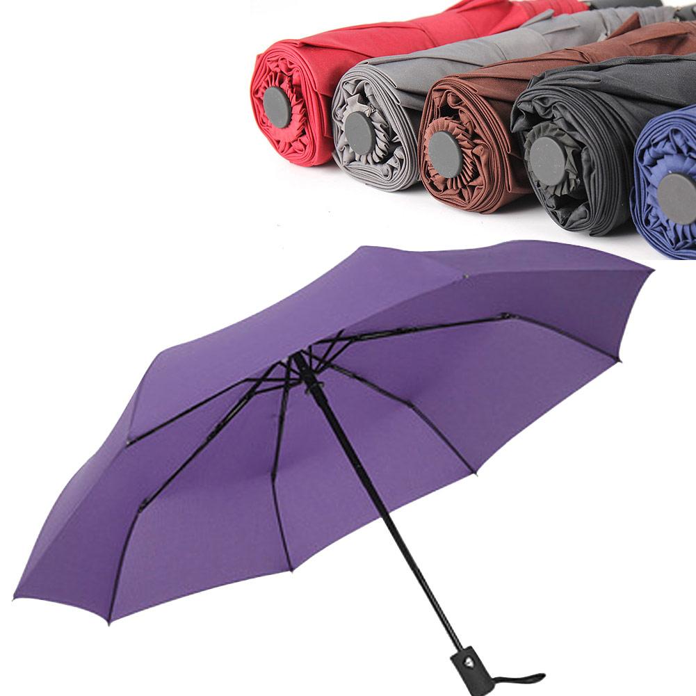 Wholesale Auto Open/ Close Compact Windproof 3Folding Travel Business Umbrella Purple