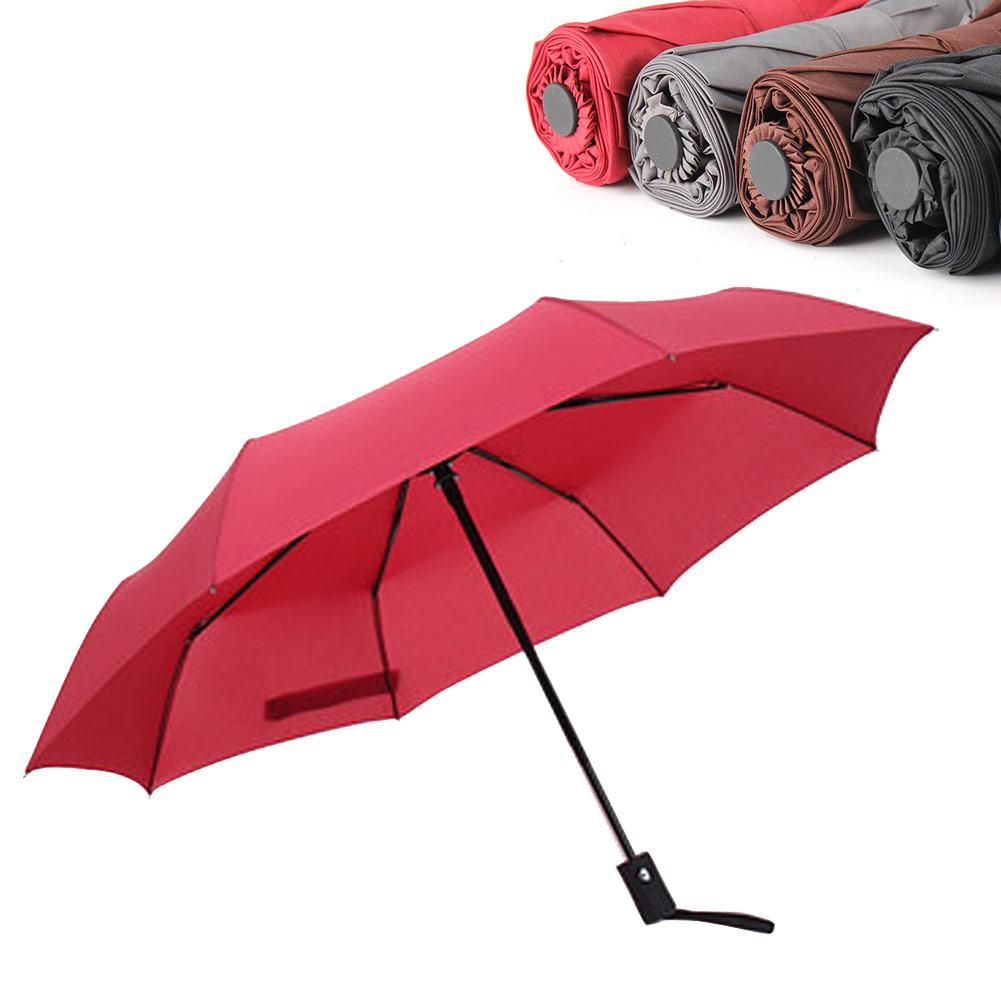 Wholesale Auto Open/ Close Compact Windproof 3Folding Travel Business Umbrella Wine