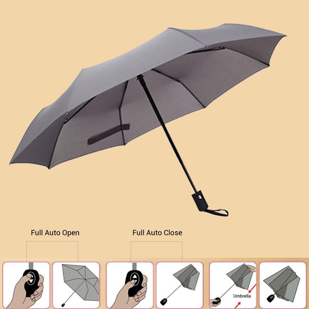 Windproof Auto Open/ Close Compact 3 Folding Travel Business Umbrella Waterproof