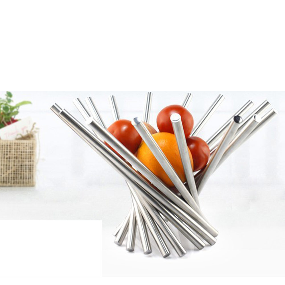 Plus Size Stainless Steel Rotation FruitOrangeBowl BasketTray Stand Holder