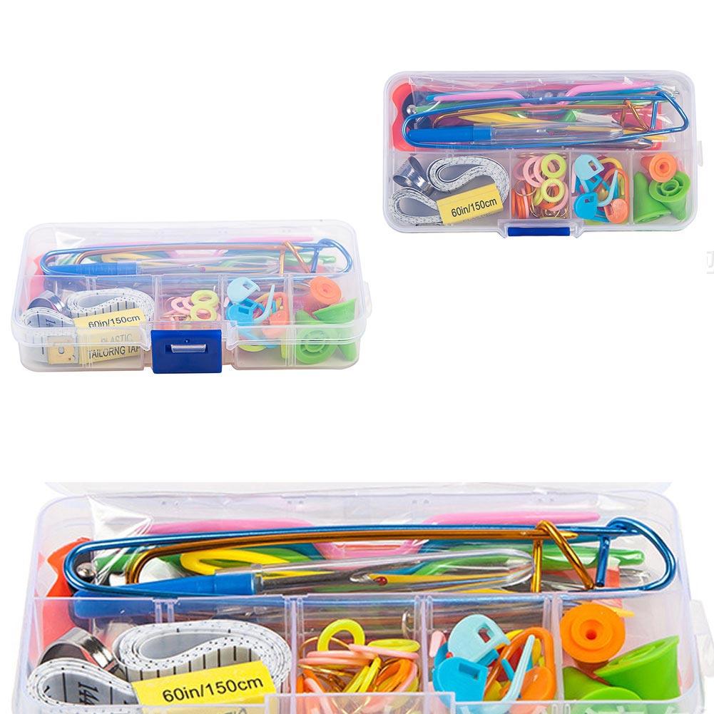 56pc Crochet Hook Knit Yarn Weave Knitting NeedleClip Marker ToolSet W/Case