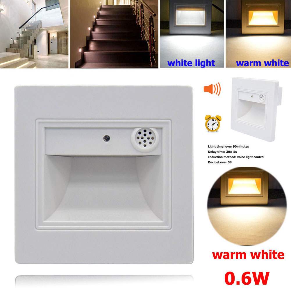 Lighting Basement Washroom Stairs: 0.6W Square 9 LED PIR Motion Sensor Voice Light Control