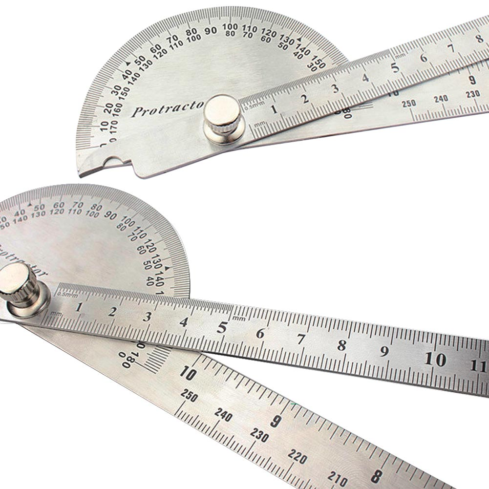 Stainless Steel Round Head Dual Arm 180 Protractor Angle Finder Rotary Ruler