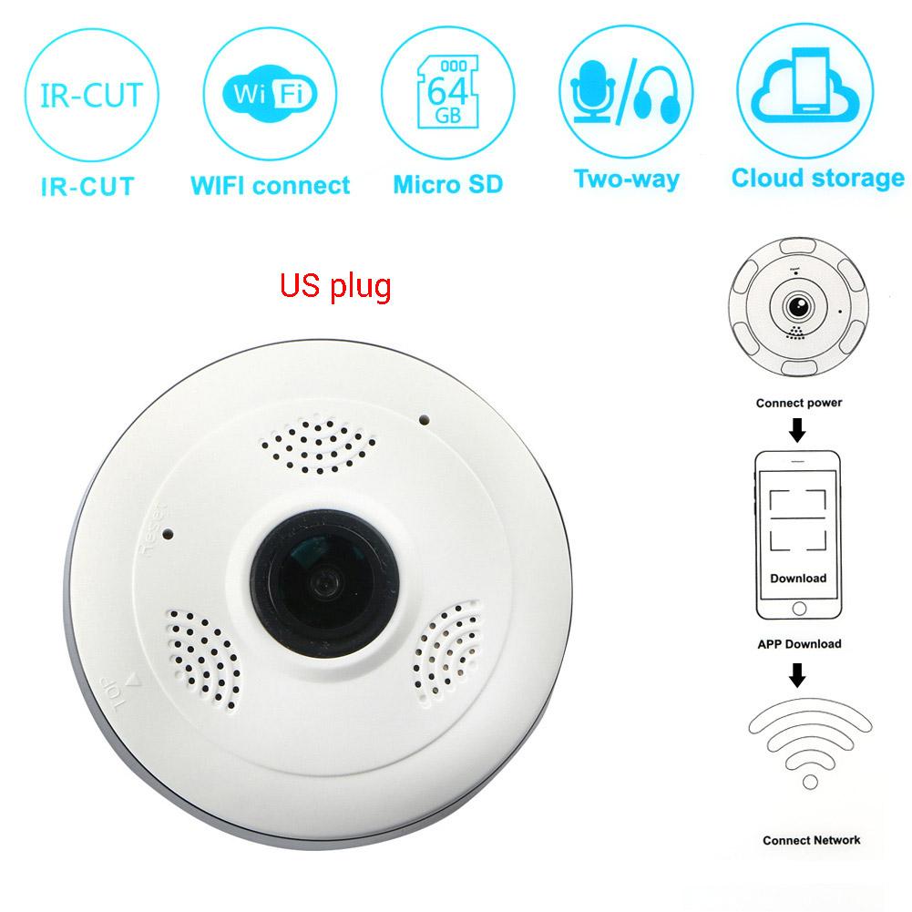 Wholesale 360°Wireless HD VR960P Panoramic IR Night Motion Detector Camera US Plug