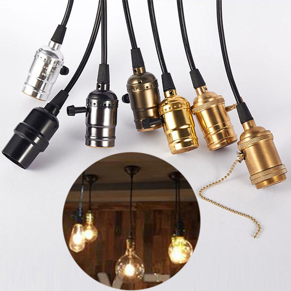 Retro Edison Screw Bulb Holder Socket Lamp Pendant Light Stand W/Switch