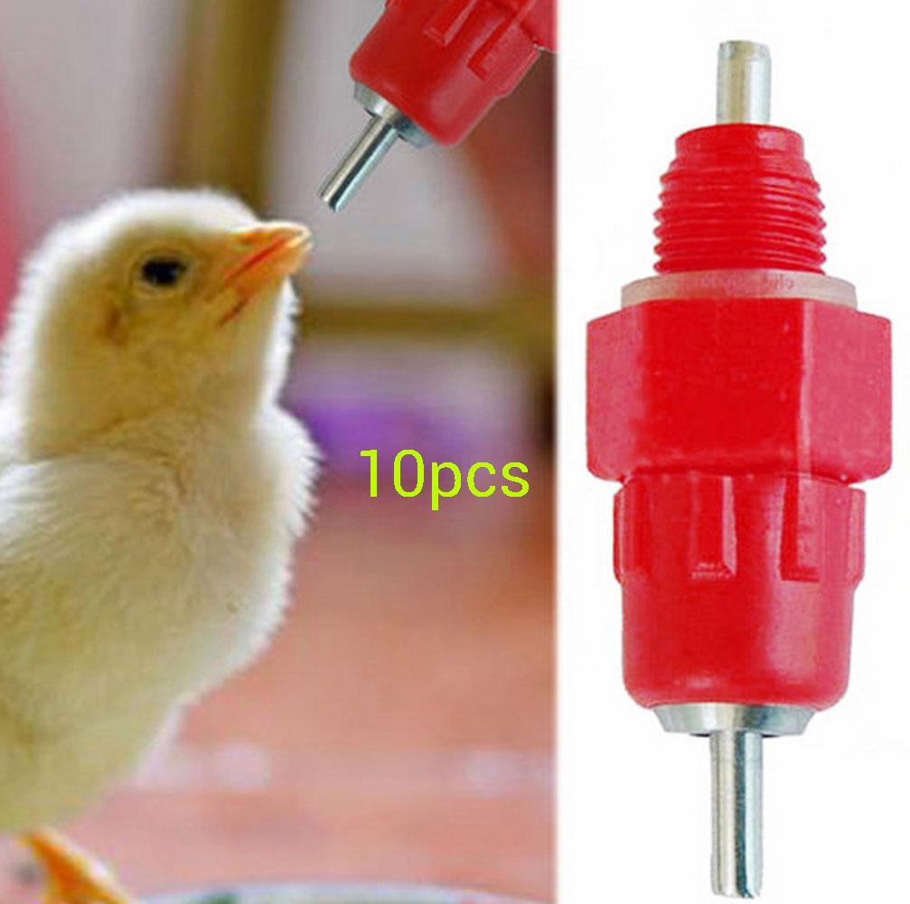 10pcSteel Ball 360� Auto ChickenPoultry Duck Hen Water Drinker FeederNipple