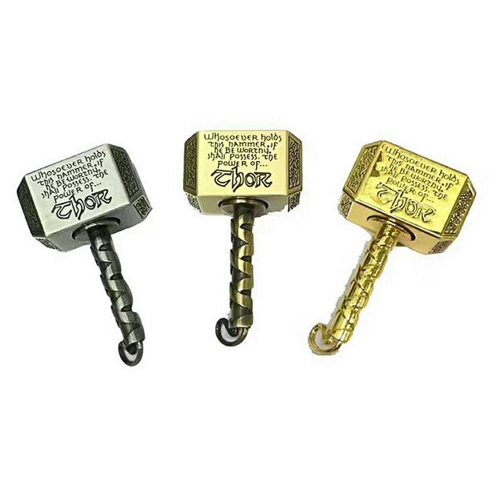 2in1 Metal Hammer Hand Finger Spinner Keychain Decor EDC Focus Gyro Toy
