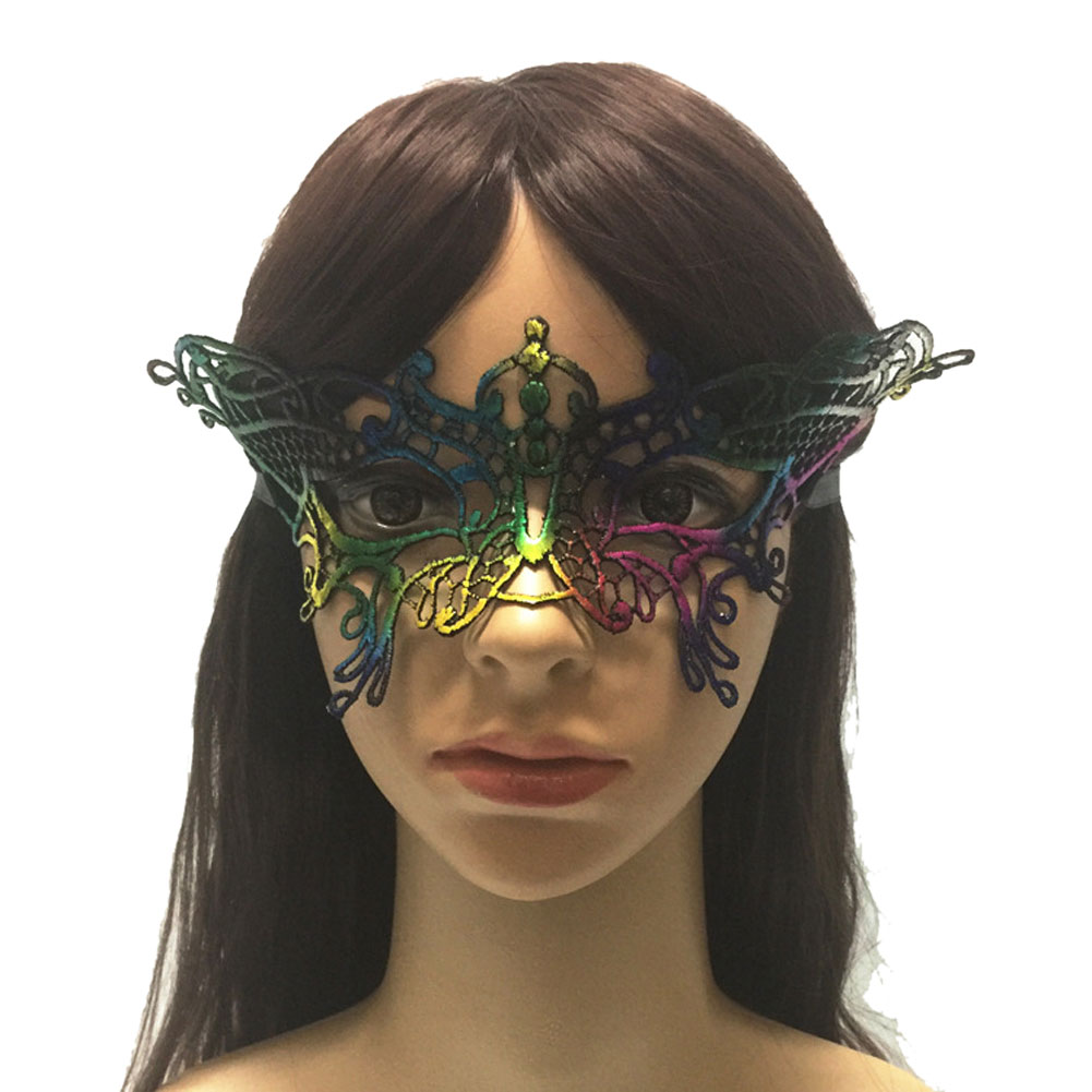 Multicolor Sparkling Lace Eye Mask for Masquerade Halloween Costume Party