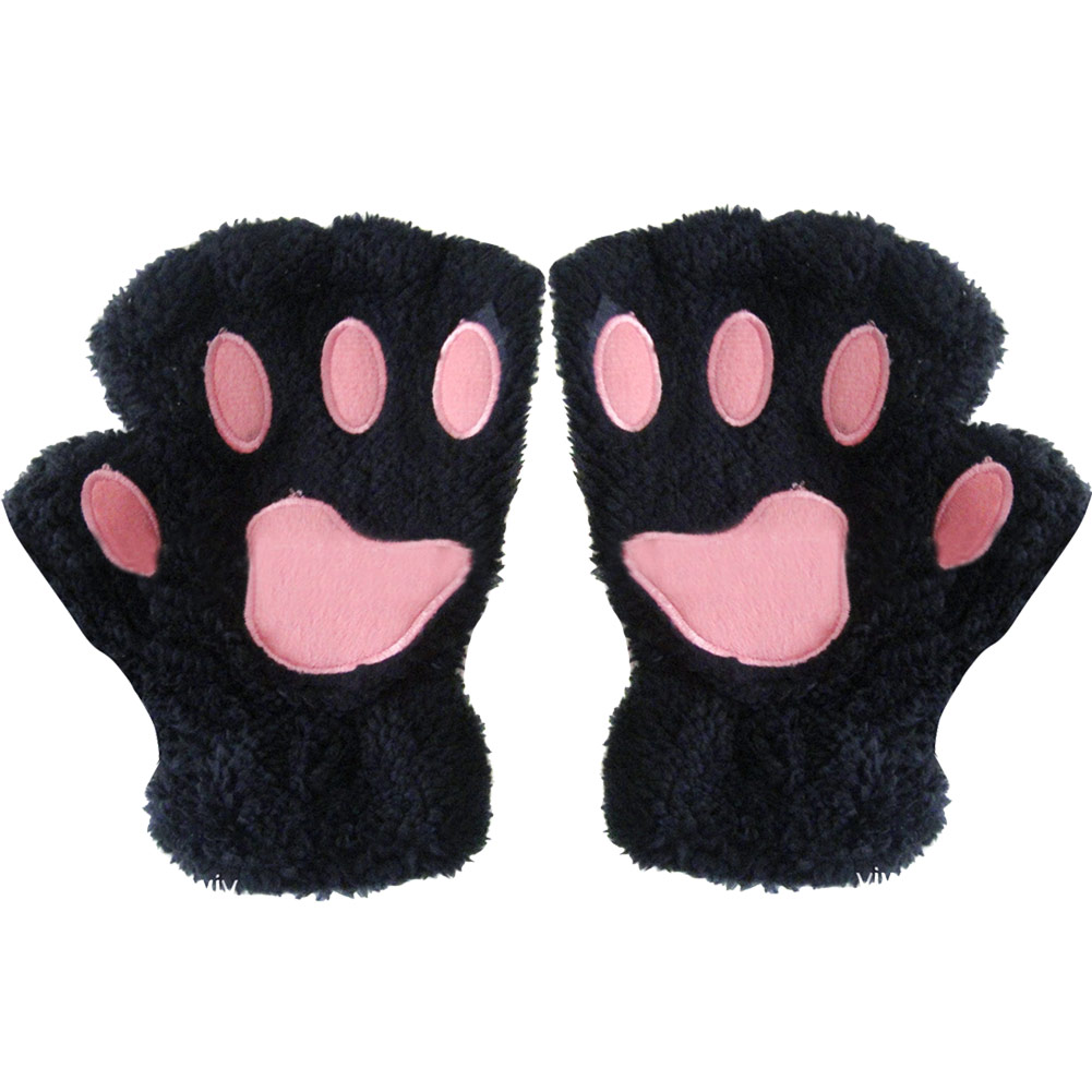 winter women plush bear cat paw claw short half finger. Black Bedroom Furniture Sets. Home Design Ideas