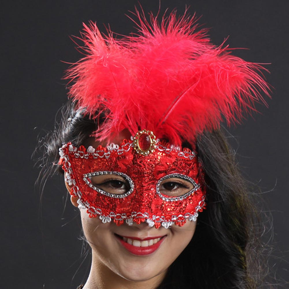 Fashion Sexy Lace Patch Half Face FeatherMask for HalloweenMasquerade Party