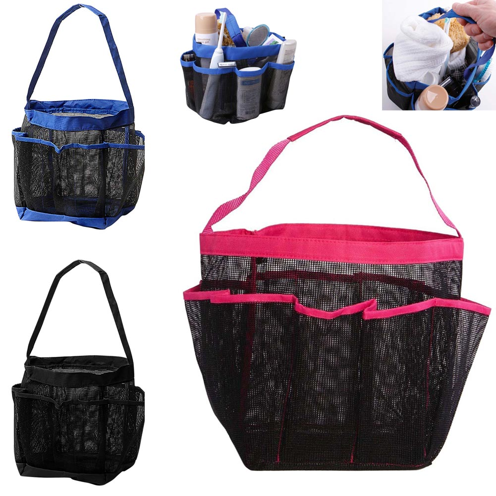 Portable 8Pocket Hanging Mesh Bathroom Bag Shower Tote Cosmetic Organizer