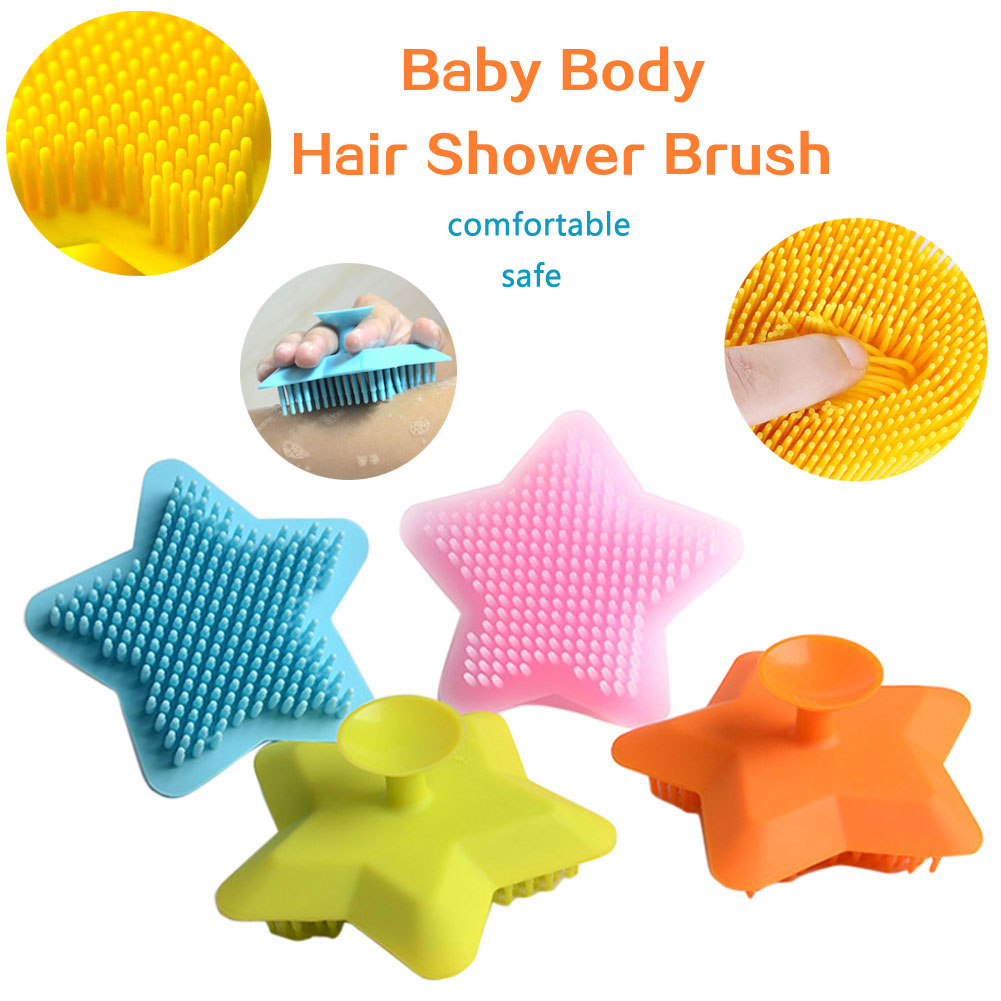 Soft Silicone Baby Body Hair Shower Bath Brush Star Scalp Massage Scrubber
