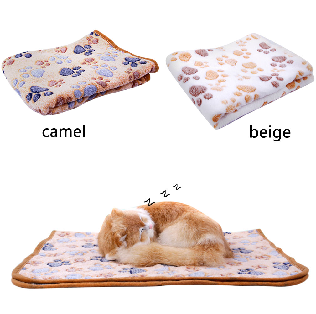Floral Paw Print Pet DogPuppy CatKitten Bed CushionSoft Fleece Warm Blanket