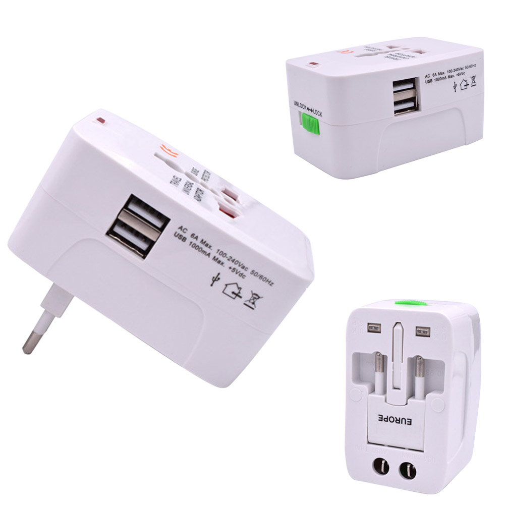 Universal Travel AC Power Adapter WallCharger Plug ConverterW/Dual USB Port