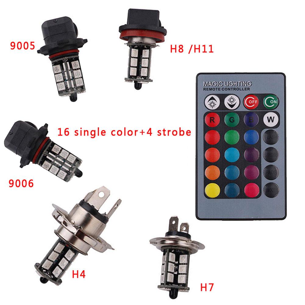 5050SMD 27Led RGB Car Fog Light Headlight Lamp Bulb Set Kit W/Control