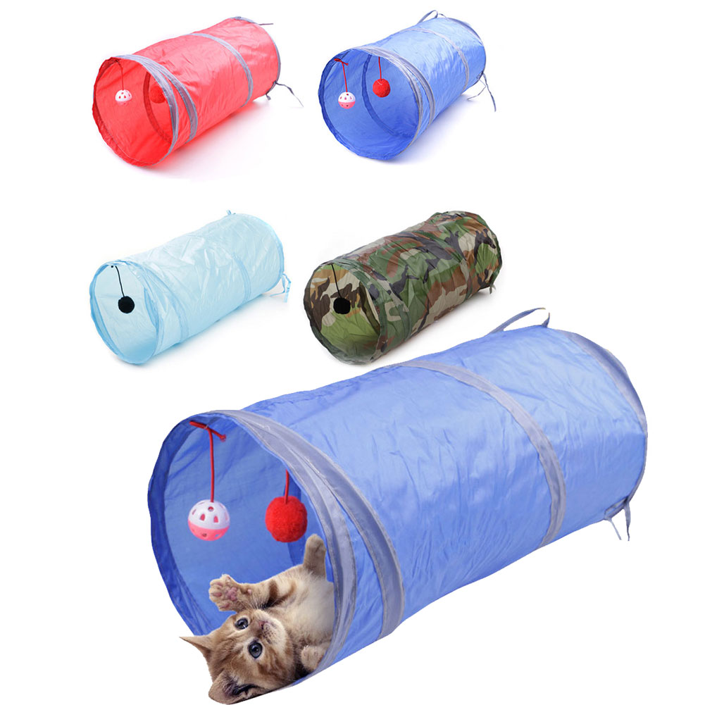 Collapsible Pet Cat Kitten Rabbit Guinea Pig Play Tunnel TrainingToy W/Ball