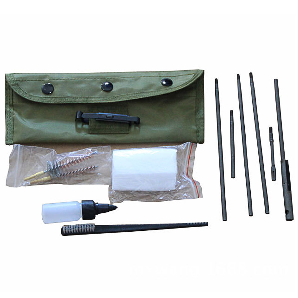 Portable Hunting Rifle Carbine Tube Pipe Cleaning Tool Kit Set W/Pouch