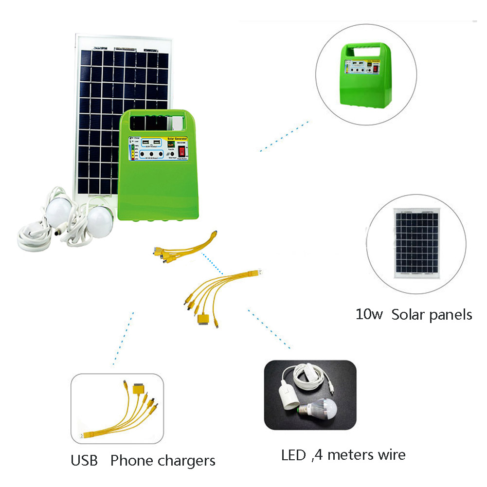 Multifunction 10W Portable Solar Power Generator Charge Lighting System Kit