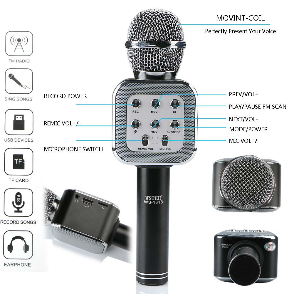 Wireless Bluetooth Karaoke Microphone Player Speaker With FM Radio+USB Cable