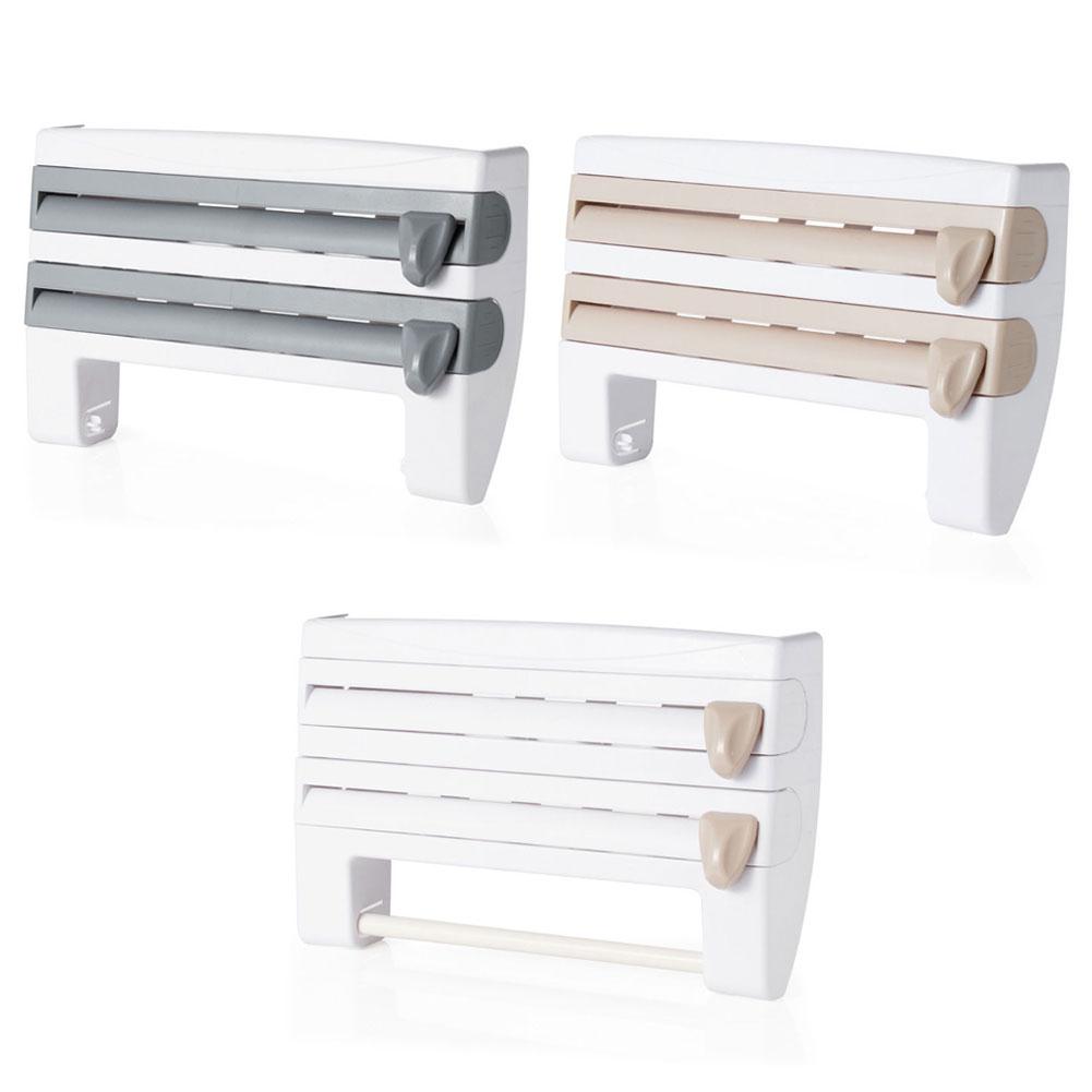 Superb Wall Mounted Kitchen Roll Dispenser Cling Film Tin Foil Towel Holder Rack. U003e
