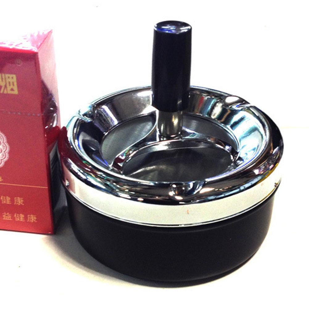 Portable Metal Ashtray Spinning Plain Cigarette Push Down Ash Holder Black