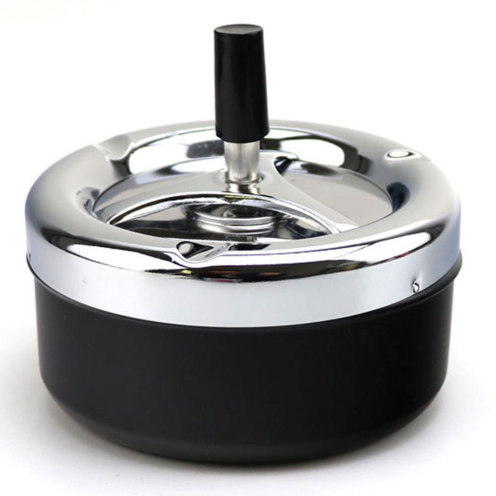 Wholesale Portable Metal Ashtray Spinning Plain Cigarette Push Down Ash Holder Black