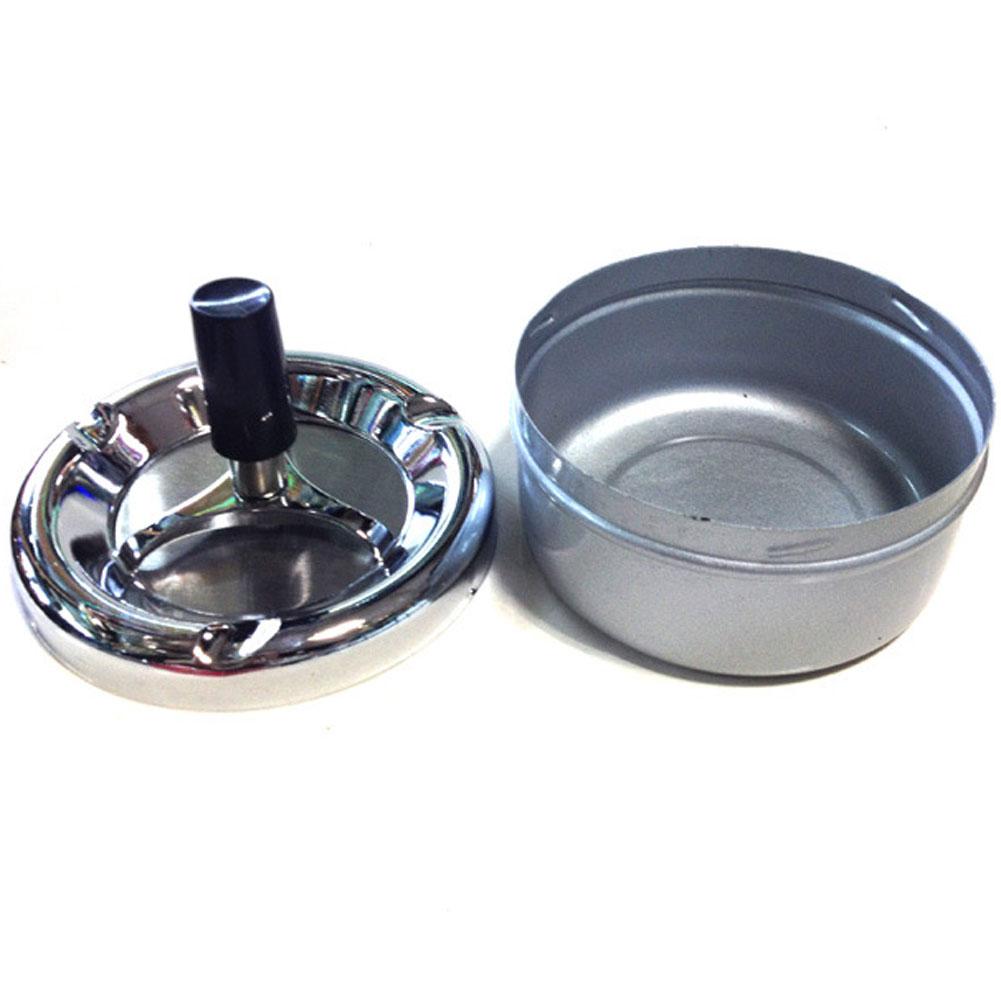 Wholesale Portable Metal Ashtray Spinning Plain Cigarette Push Down Ash Holder Silver