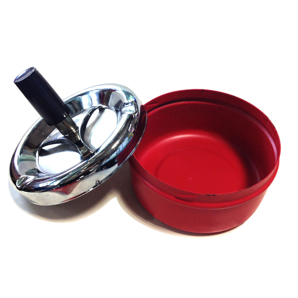 Wholesale Portable Metal Ashtray Spinning Plain Cigarette Push Down Ash Holder Red