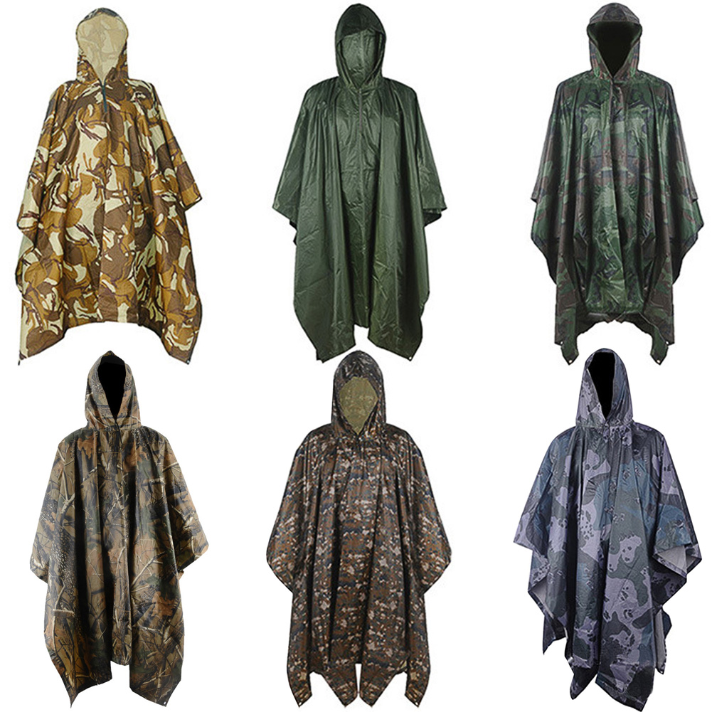 Adult Outdoor Military Tactical CamouflageWaterproof HoodedRaincoat Poncho
