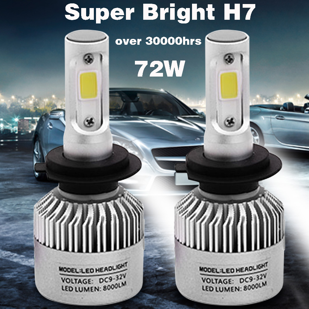 2pc Super Bright COB H7-S2 8000LM 72W LED Car Headlight Fog Light Lamp Bulb