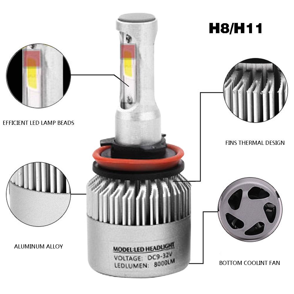 2X H1 H3 H4 H7 H8//H11 9005 9006 C6 White LED Fog Headlight Kit Low Beam Bulbs #U