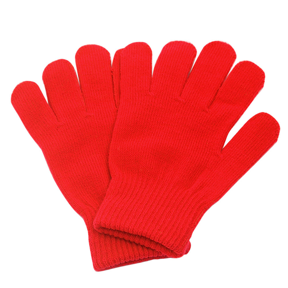 Per Bambini Ragazzi Caldo a Maglia Guanti Invernali Spessi Guanti di Pelle Completo Finger Protector