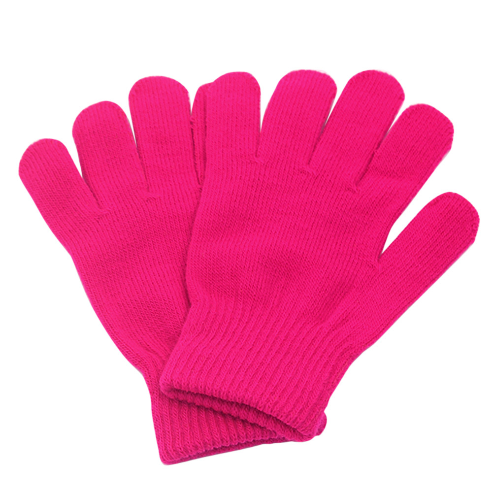 Unisex Children Winter Warm Soft Knit Gloves Kids Full Finger Stretchy  Mittens | eBay