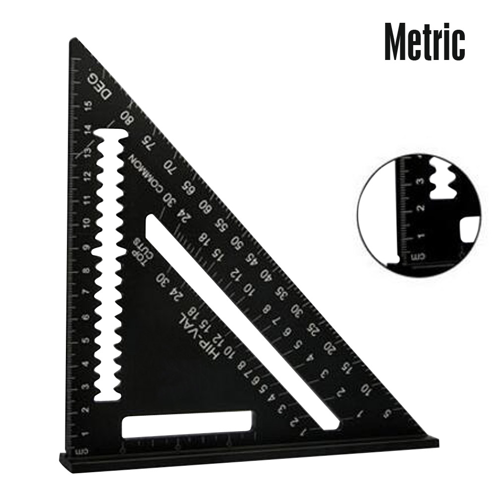 7Inch Aluminum Alloy Black Triangle Woodwork Ruler Angle Protractor Gauge