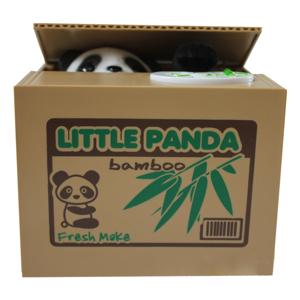 Cute Auto Electric Stealing Coin Bear Panda Money Storage Saving Box Bank