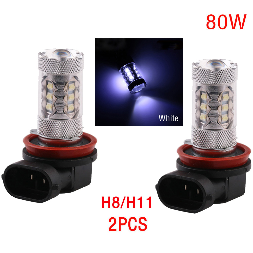 2pc H8/H11 2828SMD 80W Super Bright LED Headlight Fog DRL Lamp Light Bulb