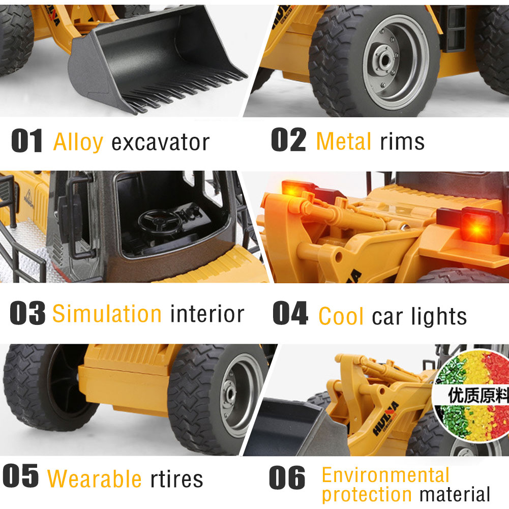 6ch rc excavator metal shovel remote control construction