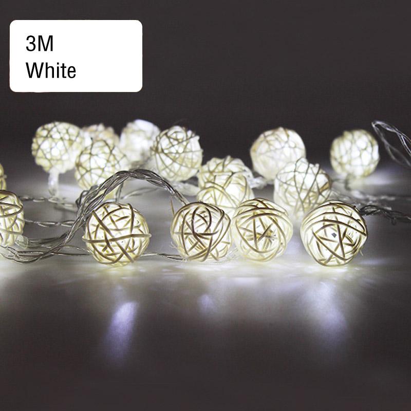 Wholesale 3M RattanBall 30LED String Light Party Christmas Wedding CurtainDecor White