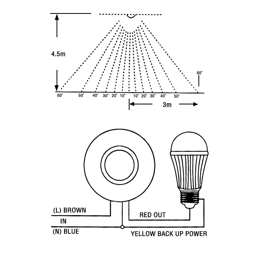 new 360 u00b0 pir ceiling motion    movement presence sensor