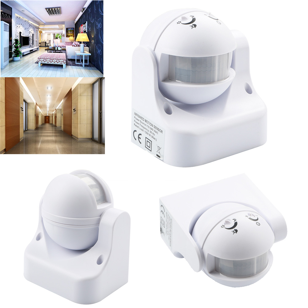 outdoor white 180 pir motion movement sensor detector. Black Bedroom Furniture Sets. Home Design Ideas