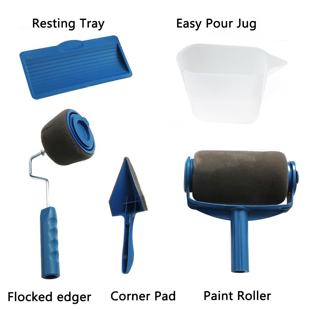 5pcs set farbroller pinsel griff pro beflockt kantenschneider raum wandmalerei runner ebay. Black Bedroom Furniture Sets. Home Design Ideas