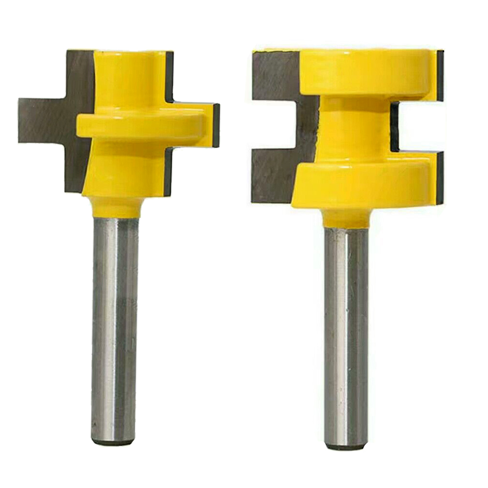 2pc/set 3T T-type 1/4 Inch Shank Tongue Groove Router Bit Tenon Cutter Tool