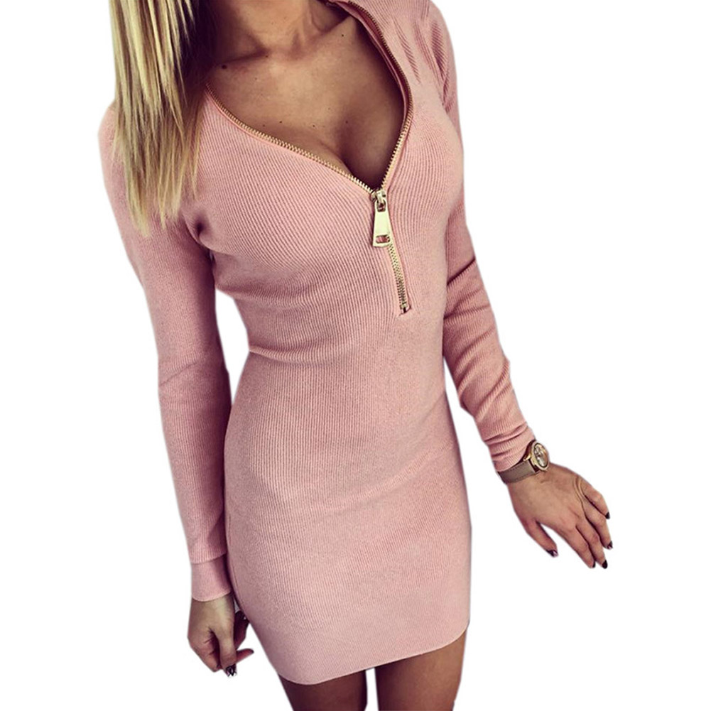 Sexy-Women-V-neck-Front-Zipper-Bodycon-Hip-Slim-Pencil-Cocktail-Party-Mini-Dress