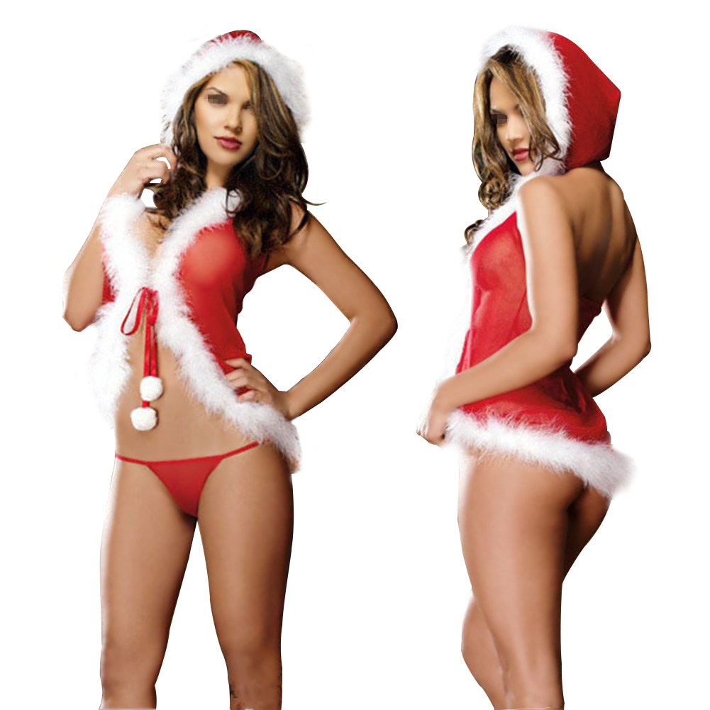 Christmas Sexy Women Lingerie Red Babydoll Dress Sleepwear UnderwearCostume