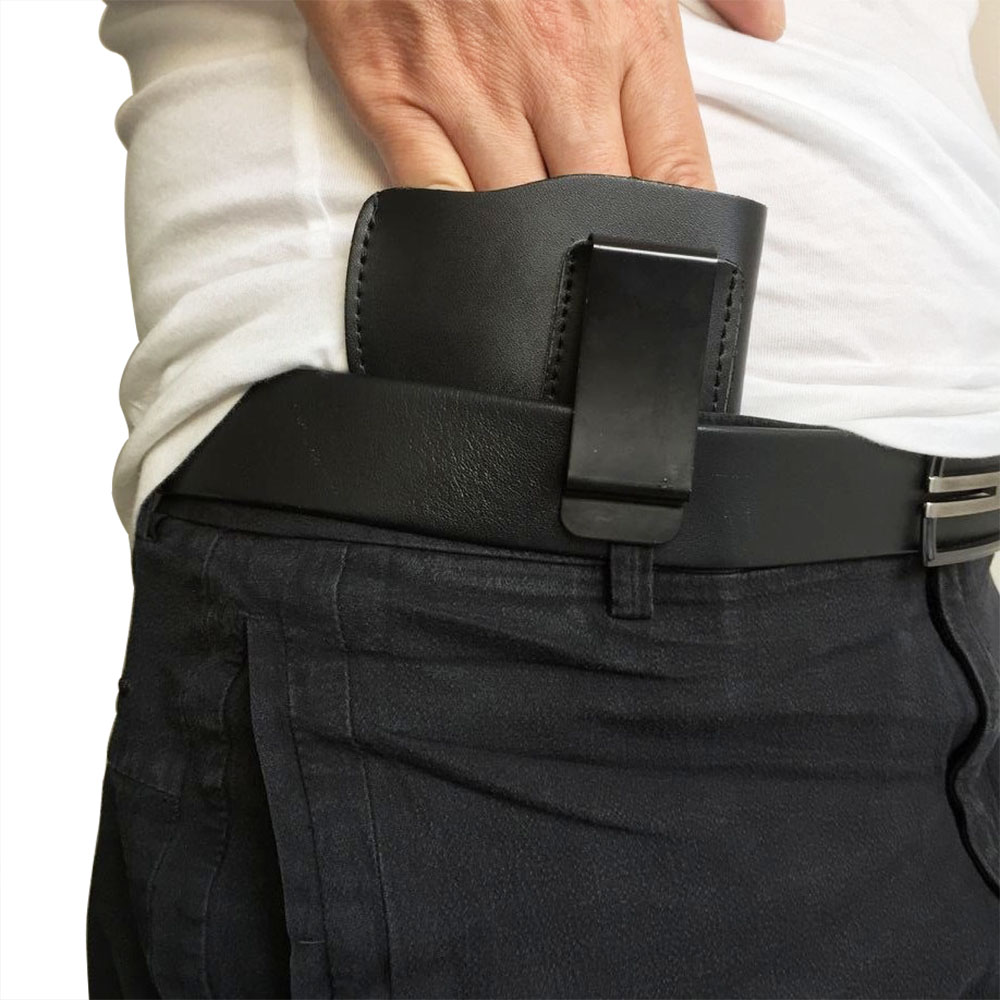 Right Hand Leather Black Concealed Carry Gun Pistol Holster Waist Pouch